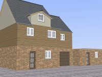 UK detached house with Garage 3D