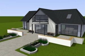 3D family house with garage and driveway
