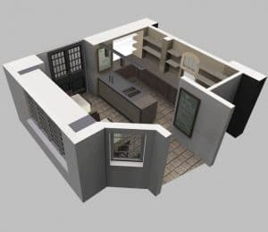 3D floor plan with furniture
