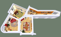 3D house plan with walls